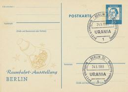 BERLIN 1963 15Pf Privat-Sonder-GA Raumfahrt-Ausstellung BERLIN M. SST BERLIN 30 - Postales Privados - Usados