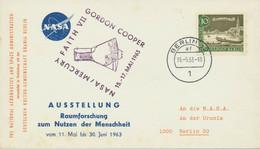 BERLIN 1963 Ausstellung Raumforschung Zum Nutzen Der Menschheit M. Vignette-Stpl - Cartas