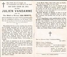Oorlog 40 45 -Bom - VANDAMME Julien ° Rumbeke 1923 - + Roeselare 1945 - Religion & Esotérisme