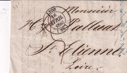 Lettre Précurseur De  Lyon Vers St Etienne  De 1843 - 1801-1848: Précurseurs XIX