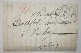 Lettre 1835 - GISORS Pour VICHY - Boite Rural N - 1D - BANLIEUE - Cad.11-3 CUSSET - 1801-1848: Précurseurs XIX