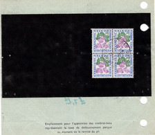 Pli De Douane 260 Paris 10/5/1972 Taxe Dédouanement DOUBLE Pour 2 Colis à 4F Par Un Bloc De 4 Du 1F Fleur - 1960-.... Briefe & Dokumente