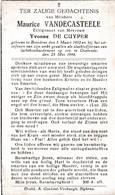 Oorlog 40 45  Luchtbombardement - VANDECASTEELE Maurice ° Breedene 1902 - + Oostende 1944 - Religion & Esotérisme