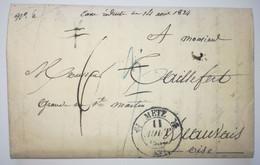 Lettre 1834 - METZ Pour BEAUVAIS - 1Taxe Réduite - 1801-1848: Précurseurs XIX