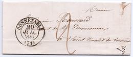BONNETABLE - SARTHE Du 20 Juillet 1847 - Cachet Type 13 - Indice 5 - 22€ - 1801-1848: Précurseurs XIX