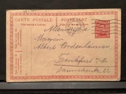 Postkaart 1920 BRUXELLES Nd BRUSSEL Nd 4-5 24 I 1920 Naar Frankfurt (DE) - Postales [1909-34]
