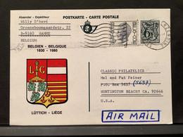 """Postkaart """"Luttich-Liege"""" ST… VERZENDING (HAMME) 19/05/1982 Naar Huntington Beach (USA) - Cartes Postales [1951-..]"""
