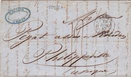 22912# LETTRE Obl ROUEN 1847 SEINE MARITIME Pour PHILIPPEVILLE ALGERIE AFRIQUE Via LIGNE DU HAVRE - 1801-1848: Précurseurs XIX