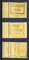 Koopje - Voorafgestempelde Zegels - Brussel 1894 - , Nrs 9 A-B En D - Roulettes 1894-99