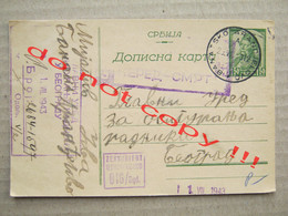 Serbia ( 1943 ) - WW2 GERMAN OCCUPATION, Zensuriert 016 / Bgd. / From Banat. Arandjelovo To Beograd RED ŽIVOT NERED SMRT - Serbia