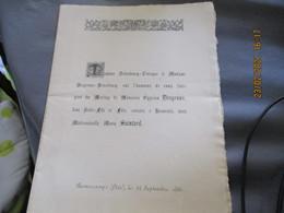 1885 Famille Dehodeucq Leveque Et Desgroux  Romescamps Faire Part Mariage - Hochzeit