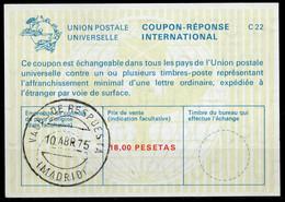 ESPAGNE SPAIN La22A18,00 PESETAS Int. Reply Coupon Reponse Antwortschein IRC IAS O VALES DE RESPUESTA MADRID 10.04.75 - 1931-....