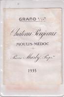 Etiquette  Chateau Poujeaux  MOULIS-MEDOC Pierre Marty  1935 - Bordeaux