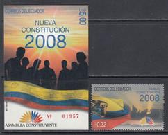 2008 Ecuador New Constitution Complete Set Of 1 + Souvenir Sheet MNH - Ecuador