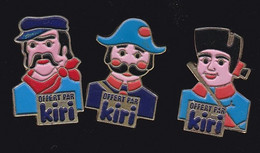69898-série De 3 Pin's.Fromage Kiri.produit Laitier. Groupe Bel.Guignol. Marionnette. - Alimentation