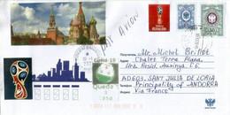 Letter From Moscow Sent To Andorra (arrival During Covid-19 Confinement) W/prevention Sticker & Arrival Postmark Andorra - Abarten & Kuriositäten
