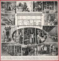 Huilerie. Huile D'olive. Broyeur, Moulin, Pressoir. Illustration Maurice Dessertenne. Larousse 1922. - Documents Historiques