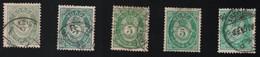 1886 -1892 Freimarken Mi NO 44 Sn NO 39 AFA NO 44 Fac NO 52 Nor NO 52 Different Colours - Used Stamps