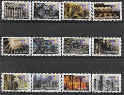 2011 FRANCE Adhesif 552-63 Oblitérés, Cathédrales,  Série Complète - Adhésifs (autocollants)