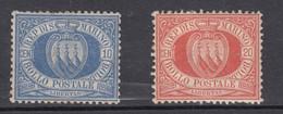 San Marino, 10 Und 20 Cent, MiNr. 2 Ohne Gummi Und MiNr. 3 Ungebraucht (mit Falz) - Unused Stamps