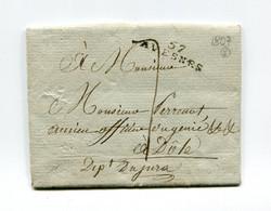 !!! MARQUE POSTALE D'AVESNES SUR LETTRE DE 1807 AVEC TEXTE - 1801-1848: Précurseurs XIX