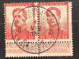 Pellens OBP 123 IN PAAR Gestempeld EC POSTES MILITAIRES BELGIQUES - 1912 Pellens