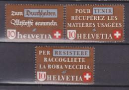SCHWEIZ  405-407,  Postfrisch **, Altstoffverwertung 1942 - Unused Stamps