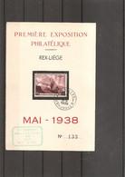 Exposition Philatélique De REX -LIEGE De 1938 ( Commémoratif De Belgique à Voir) - Esposizioni Filateliche
