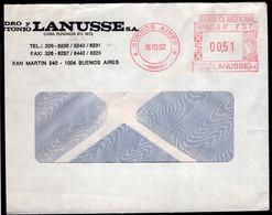 Argentina - 1992 - Lettre - Cachet Spécial - Affranchissement Mécanique - Pedro Antonio Lanusse - A1RR2 - Lettres & Documents