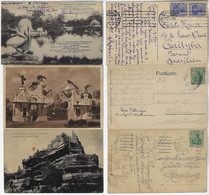 Germany 1913 / 1920 3 Postcards Carl Hagenbeck Zoo Stellingen Hamburg Portal Lake Dinosaurs Baboos Germania Stamps - Stellingen
