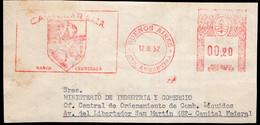 Argentina - 1952 - Fragment Lettre - Cachet Spécial - Affranchissement Mécanique - A1RR2 - Lettres & Documents