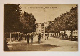SPAIN 1937 - EL FERROL -  Paseo Del Canton De Molins. Military Censored.Used And Stamped Postcard - 1931-50 Usados