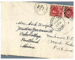 (JJ 21) Canada (front Only ) Part Of Cover Posted July 24th 1919 To USA (and Re-directed) - Oblitérés
