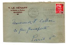 1954--lettre De QUIMPER-29 Pour PARIS 6°. .timbre Marianne Gandon....cachet ...personnalisée Y.LE HENAFF........ - 1921-1960: Modern Period