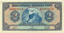 HAITI - 2 GOURDES - Seventh Issue ( Ca. 1964 ) - P 186 - Prefix AG - Convention Du 12 Avril, 1919 - Haïti