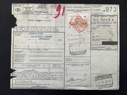 "Spoorwegborderel ""Verzendingsbulletin"" 1967 Gefrankeerd TR400 Met Rode Stmpel ANTWERPEN CENTRAAL 50 - 1952-...."