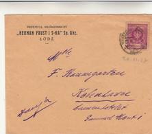 Lodz, Polonia. Cover 1927 - Briefe U. Dokumente