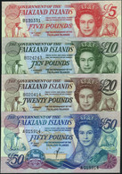 ♛ FALKLAND ISLANDS - 5+10+20+50 Pounds 1990-2011 {Pcs.4 Set} UNC P.16+17+18+19 - Falkland Islands