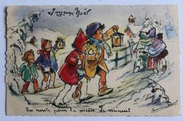 """GERMAINE BOURET  """" EN ROUTE POUR LA MESSE DE MINUIT  ....  . """" M D PARIS  JOYEUX NOEL  14 Cm X 9 Cm - Bouret, Germaine"""
