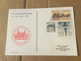 K16 DDR Ganzsache Stationery Entier Postal P 93 Ortskarte Von Altenberg Mit ZF BRD 1. Tag Nach Währungsunion Ohne Text - Postales - Usados