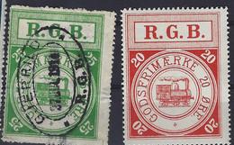 Denmark Local Railway Parcel Post, 2 Stamps R.G.B..Trains/Railways/Eisenbahnmarken - Treni
