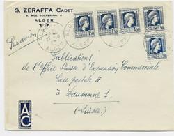 ALGERIE  MARIANNE ALGER 1FR50 X5  LETTRE AVION ALGER RP 27.10.1945 POUR SUISSE - 1944 Coq Et Marianne D'Alger