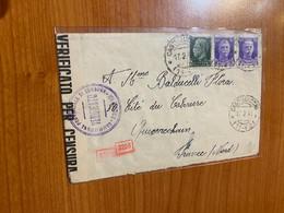 Lettre 1944 - Vérificato Per Censura + Cachet Geoffnet - Marcophilia