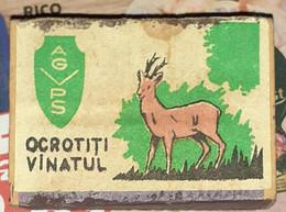 ROMANIA-PROTECT THE HUNT,UNUSED WOODEN MATCHBOX - Scatole Di Fiammiferi