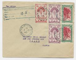 MADAGASCAR 40CX2+ FRANCE LIBRE 10CX2+1FR50 MIXTE POSTE AERIENNE 17F50 LETTRE AVION TANANARIVE 3.10.1945 RARE - Covers & Documents