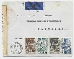 MAROC 1FR+2FR+30C+20C LETTRE AVION TANGER CHERIFIEN 9.1.1942 POUR SUISSE CENSURE ROUGE - Briefe U. Dokumente