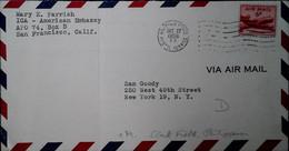 F 18  1974 Army Air Force Embassade Américaine Apo 74 (pliure) - Cartas
