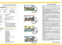 Feuillet Poste FDC 2265 à 2268 Château Kobenhavn Rixensart Westerloo Fallais Gaasbeek - Cartas