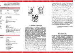Feuillet Poste FDC 2241 2242 Croix-rouge De Belgique Prix Nobel Corneille Heymans Albert Claude Marbais - Cartas