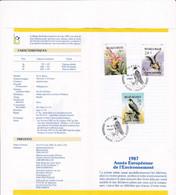 Feuillet Poste FDC 2244 à 2246 Année Européenne De L'environnement Rapaces Faucon Rhinolphe Ophrys Abeille - Cartas